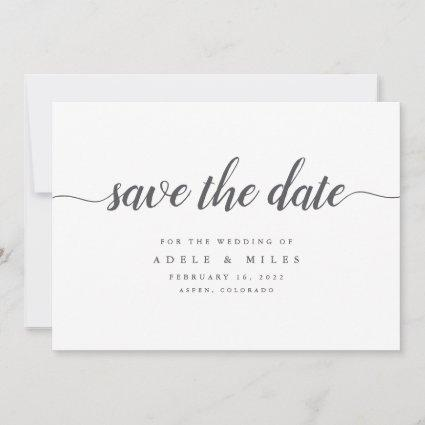 Grey & White Calligraphy Save the Date Card