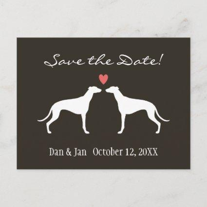 Greyhound Dog Silhouettes Wedding Save the Date Announcement