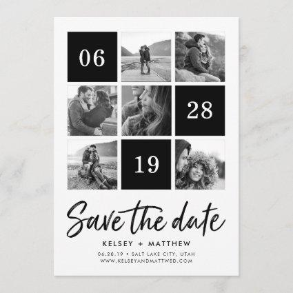 Grid Collage | Black and White Photo Save the Date