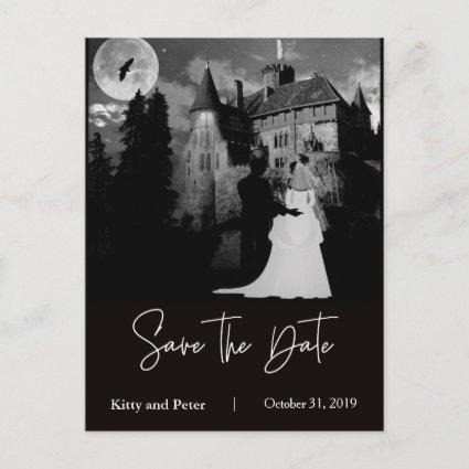 Halloween October Mansion Wedding Save The Date Announcement