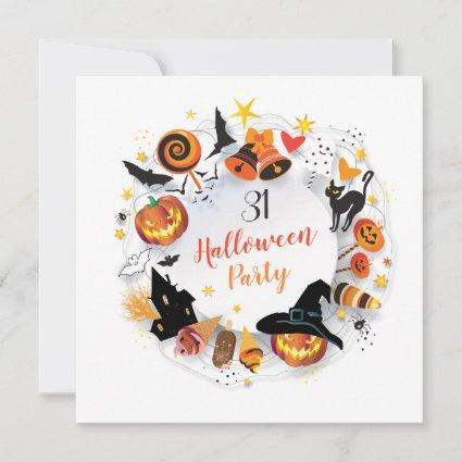 Halloween Party Trendy Design Save The Date