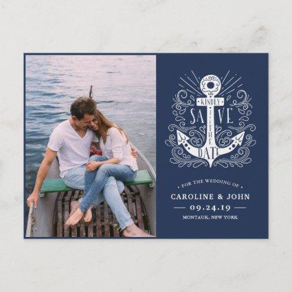 Hand Drawn Anchor Photo Save the Date Announcement