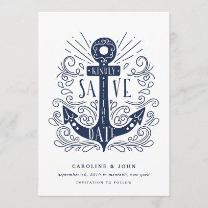 Hand Drawn Anchor Save the Date Card