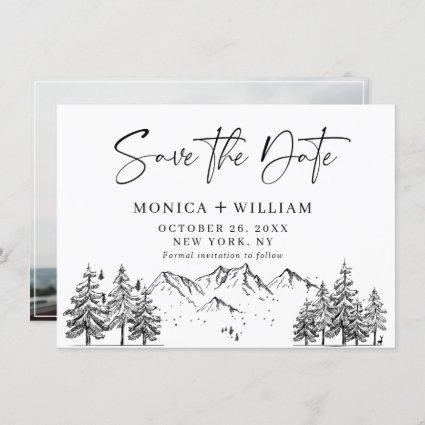 Hand Drawn Mountains Forest Wedding Photo  Save Th Save The Date