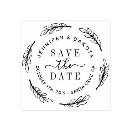 Hand Drawn Script & Botanical Wreath Save The Date Rubber Stamp