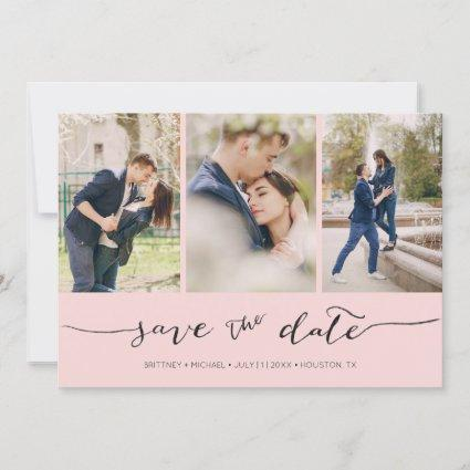 Hand Lettered 3 Image Blush Pink Save The Date