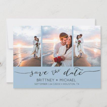 Hand Lettered 3 Image Dusty Blue Save The Date