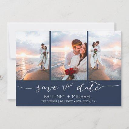 Hand Lettered 3 Image Navy Blue Save The Date