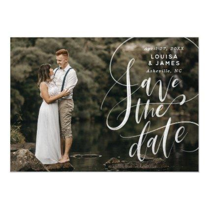Hand Lettered Horizontal Calligraphy Save the Date Invitation