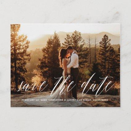 Hand Lettered Photo Rustic Save the Date Cards