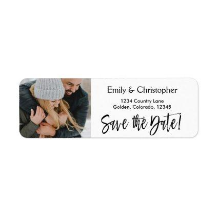 Hand Lettered Script Wedding Save the Date Photo Label