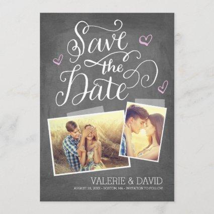 Hand lettered Snapshot 2-Photo Save the Date