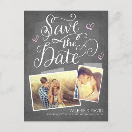 Hand lettered Snapshot 2-Photo Save the Date Announcement