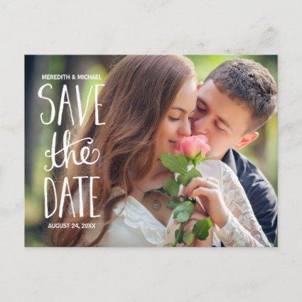 Hand Lettered Typography Photo Save the Date Announcement