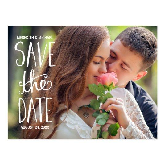 Hand Lettered Typography Photo Save the Date Cards
