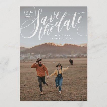 Hand Lettered Vertical Photo Save the Date Invitation
