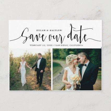 Hand Lettering Two Photo Save the Date Cards