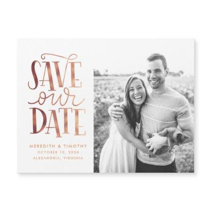 Handlettered Rose Gold Photo Save the Date
