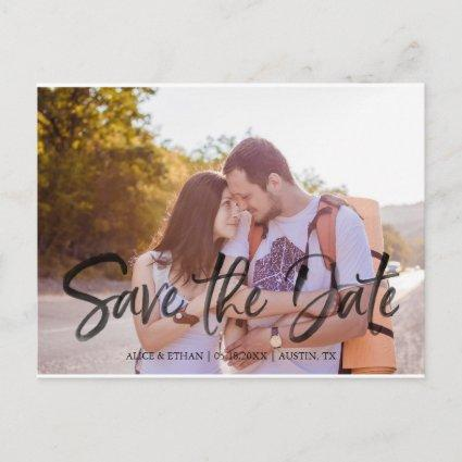 Handwriting Brush with Photo Save The Date Announcement