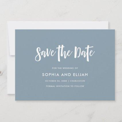 Handwritten and Modern | Dusty Blue with Photo Save The Date