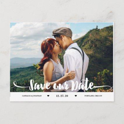Handwritten Brush Script Photo Save the Date Announcement