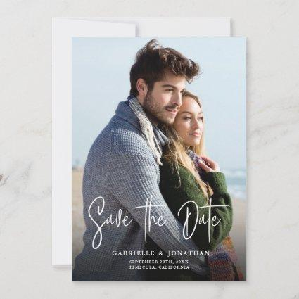Handwritten Calligraphy Simple Photo Save The Date