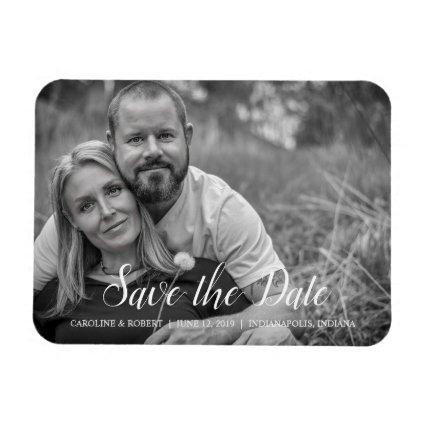 Handwritten Romantic Script Photo Save the Date Magnet