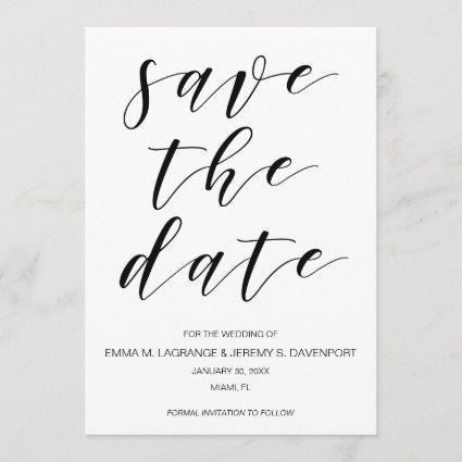 Handwritten save the date card | black and white