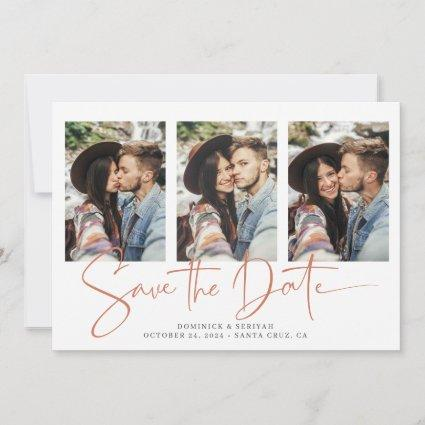 Handwritten Save the Date Copper Rose Gold Marble