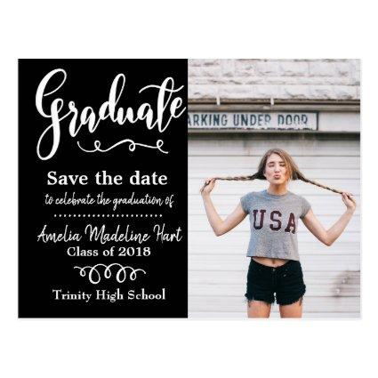 Handwritten Save The Date Graduation Photo Black Cards