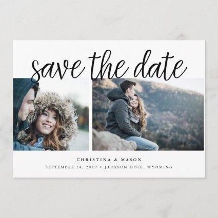 Handwritten Script Multi Photo Save the Date