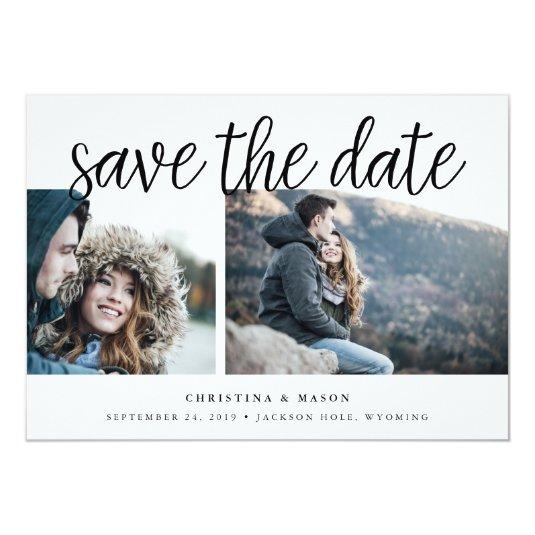 Handwritten Script Multi Photo Save the Date Card