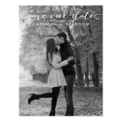 Handwritten Script Photo Save Our Date Cards