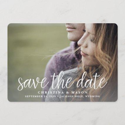 Handwritten Script Photo Save the Date