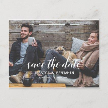 Handwritten Script Photo Save The Date Invitation