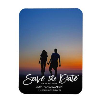 Handwritten Script Photo Wedding Save The Date Magnet