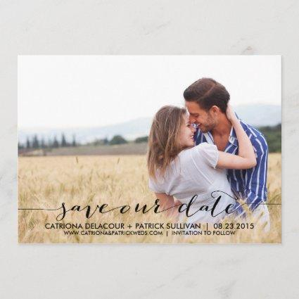 Handwritten Script Save Our Date Announcement