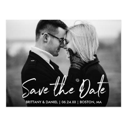 Handwritten Script Save the Date Black and White