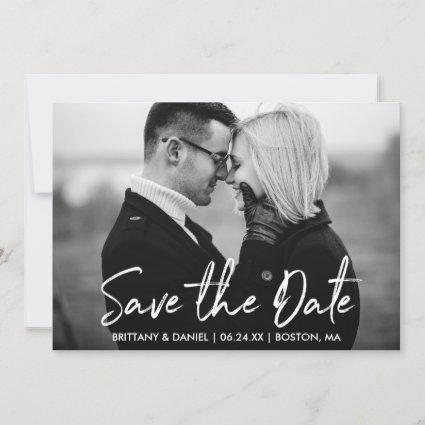 Handwritten Script Save the Date Black White Card