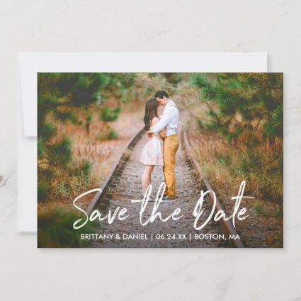Handwritten Script Save the Date Couple Photo Card