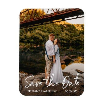 Handwritten Script Save the Date Couple Magnets