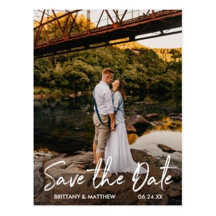 Handwritten Script Save the Date Couple Photo