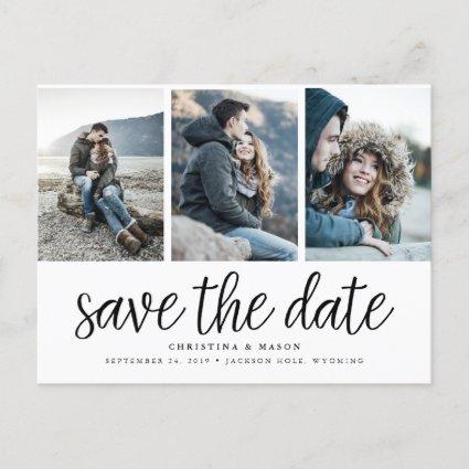 Handwritten Script Three Photo Save the Date Announcements Cards