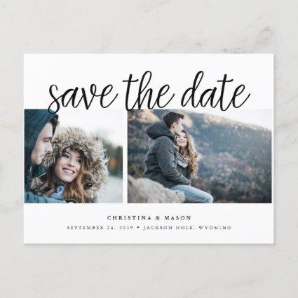 Handwritten Script Two Photo Save the Date Announcements Cards