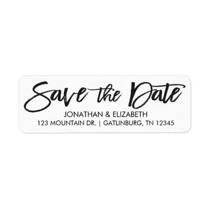 Handwritten Script Wedding Save The Date Label