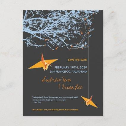 Hanging Paper Cranes Branch Tree Save The Date Announcement