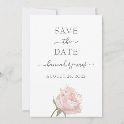 Hannah Pink Modern Simple Calligraphy Save The Date