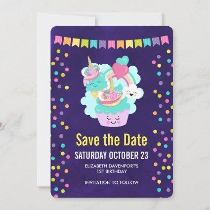 Happy Cupcake and Ice Cream Birthday Party Save The Date