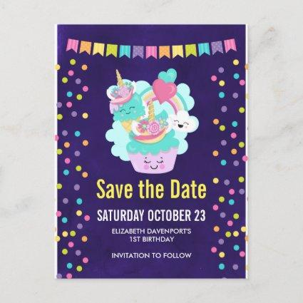 Happy Cupcake and Ice Cream Birthday Save the Date Announcement