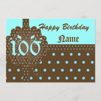 Happy One Hundred Birthday Gift Invitation!-Cust. Save The Date